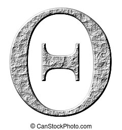griego, piedra, 3d, carta, theta