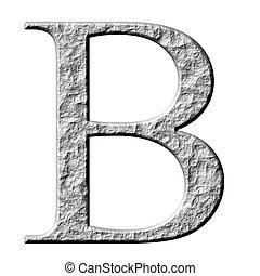 griego, piedra, beta, carta, 3d