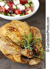 griego, pollo, asado, ensalada, hierbas