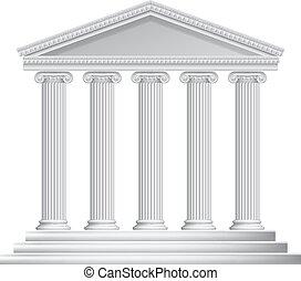 griego, romano, o, columnas, templo