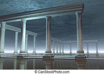 griego, ruina, templo, ahogado