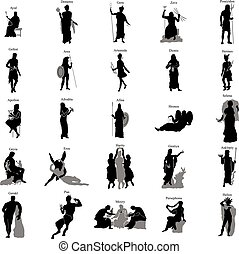 griego, silueta, conjunto, dioses