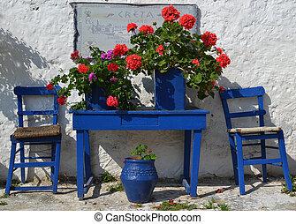 griego, típico, courtyard.