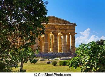 griego, templo, arqueológico, neptuno, paestum, sitio