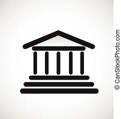 griego, templo, columnas, logotipo