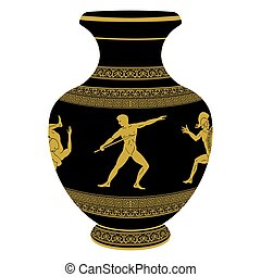 griego, vase., vector