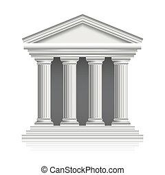 griego, vector, templo, ilustración