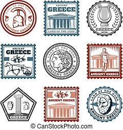 griego, vendimia, antiguo, conjunto, marcas