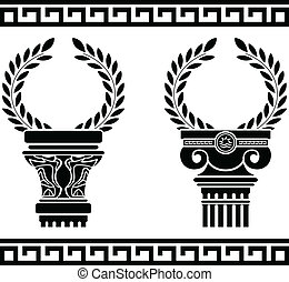 griego, wreaths., plantilla, columnas
