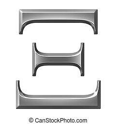 griego, xi, plata, carta, 3d