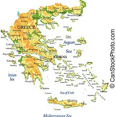 griekenland, kaart, lichamelijk