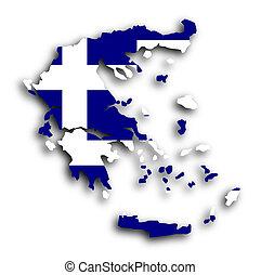 griekenland, kaart, met, de, vlag, binnen
