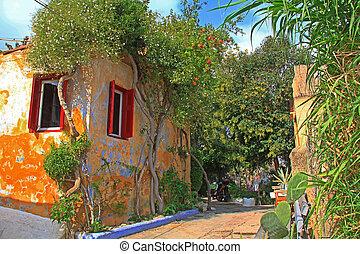 griekenland, steegje, anafiotika, smalle , thuis, athene, straat