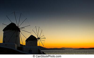 griekenland, windmils, eiland, mykonos
