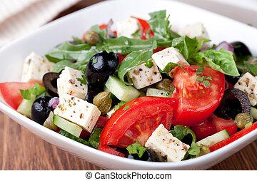griekse , groente, slaatje, met, feta kaas