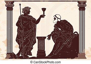griekse , oud, god, dionysus.