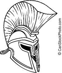 griekse , spartan, oud, helm