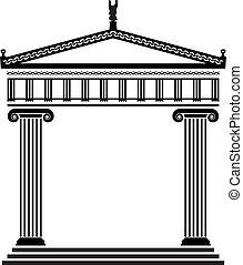 griekse , vector, oud, architectuur