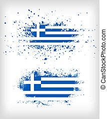 griekse vlag, grunge, splattered, inkt