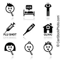 griep, mensen, iconen, koude, vector, ziek