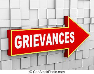 grievances, cube, mur, résumé, -, flèche, 3d