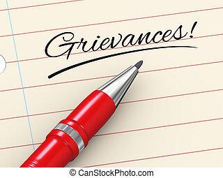 grievances, pen, papier, -, 3d