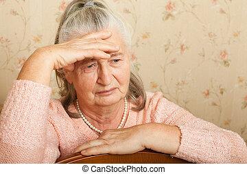 grieves, nő, home., öregedő
