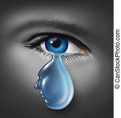 Grieving and human grief concept with a human face and eye...