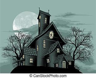 griezelig, rondgespookte, spook, woning, scène, illustratie