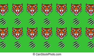 griffes, -, tigre, animation, arrière-plan vert, dièse