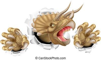 griffes, triceratops, dinosaure, déchirure