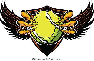 griffes, vecteur, tennis, serres, aigle, illustration
