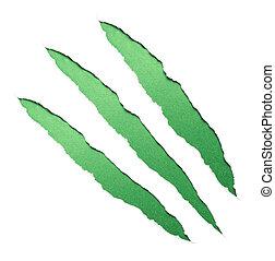 griffes, vert, grattements