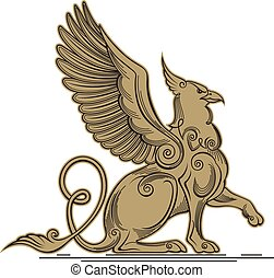 Griffin - a mythical creature with the head, claws and wings...