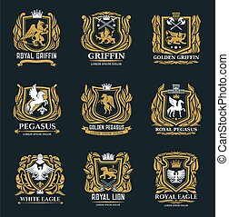 Griffin, eagle and pegasus golden heraldic icons