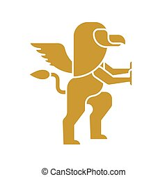 Griffin heraldic symbol. Sign Animal for coat of arms. Vector illustration
