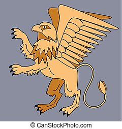 Griffin. Mythological creatures. Tales and heraldry....
