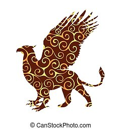 Griffin pattern silhouette ancient mythology fantasy