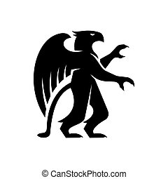 Griffin silhouette isolated half lion and eagle