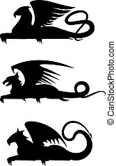 griffin, silhouettes