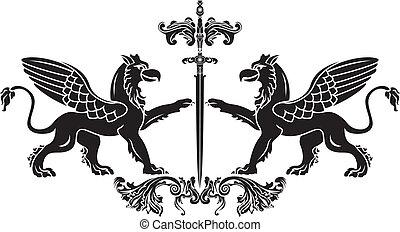 griffin, vetorial, stencil., espada