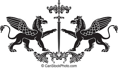 Griffin with sword stencil. vector