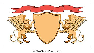 Griffins holding a shield. Shield with ribbon. Heraldry. Medieval emblem. Vector Iillustrations