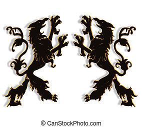 Griffins mythological creatures 3D - 3D Illustration of...