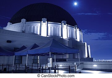Griffith Observatory at Night - Observatory Closeup with...