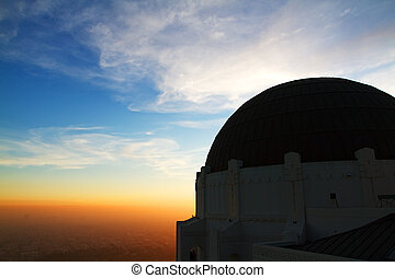 Griffith Observatory in Los Angeles Hollywood California at Suns