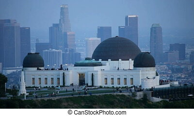 Griffith Park Observatory With Compressed Los Angeles in the...