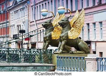 Griffon sculpture of Bank bridge in St.Petersburg