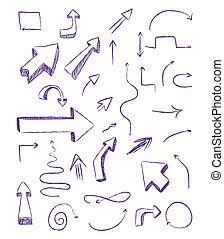 griffonnage, éléments conception, flèches