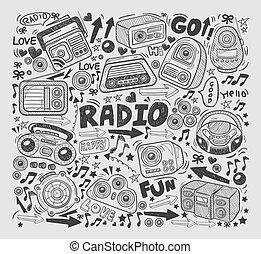 griffonnage, éléments, radio